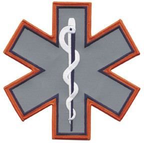"Reflective Star of Life 7"" with Orange Outline"