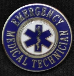 EMS Emergency Medical Technician (blue) Insignia Pin