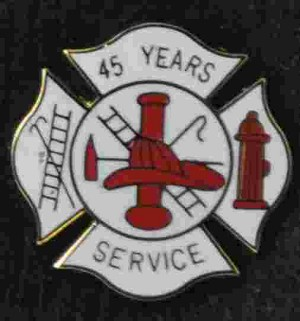 45 years Fire Service pin