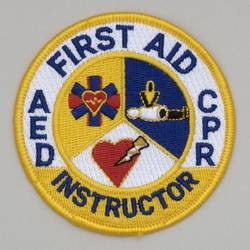 "Embroidered Patch - 'First Aid CPR AED ""INSTRUCTOR"" Patch"